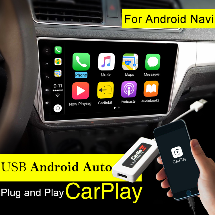 Carlinke USB Apple Carplay Dongle for Android Auto iPhone iOS12 Carplay Support Android / MTK WinCE system Car Navigation Player carlinke usb dongle apple ios carplay android auto with touch screen control for android car headunit