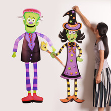 Halloween Party Decorations Witches Ghosts Sirens Vampires Skeletons Paper Pendants Bars Shopping Mall Sticker Props(China)