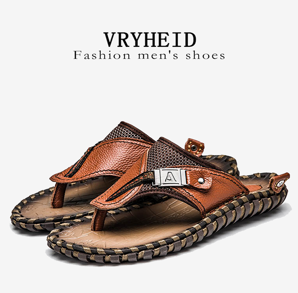 HTB1TtM LQvoK1RjSZFDq6xY3pXah - VRYHEID Brand Men's Flip Flops Genuine Leather Luxury Slippers Beach Casual Sandals Summer for Men Fashion Shoes New Big Size 48