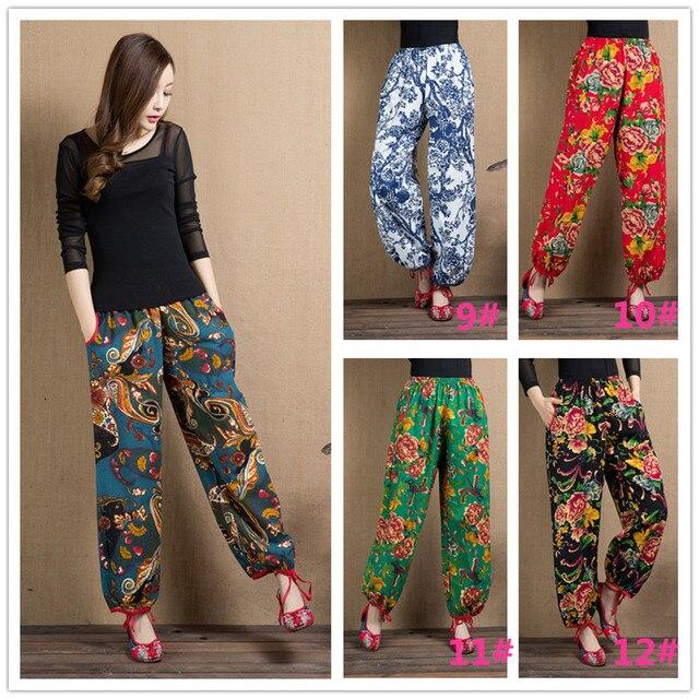 924640c15032 2019 Hot Sale Summer Women Pants Casual Cotton Linen Wide Leg Long Pants  Palazzo Trousers Floral Print Pant E424