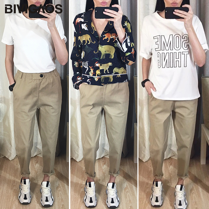 Image 2 - BIVIGAOS 2019 New Spring Women Clothing Straight Overalls Casual Harem Pants Korean Elastic Waist Triangle Buckle Cargo Pants-in Pants & Capris from Women's Clothing