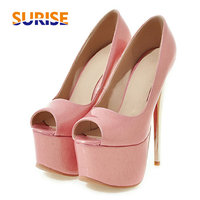 Summer Women Platform Pumps 16cm Spike Thin High Heel Open Toe Pink Patent Leather Party Wedding Office Ladies Stiletto Size 48