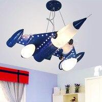 Moderna sala de luz pingente de avião das crianças dos desenhos animados LEVOU lâmpada do quarto menino