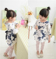 2015 new designer girls print spring summer dress Chinese style baby girl casual dresses kids costume children clothes