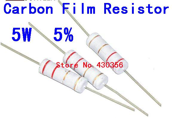 10PCS     5W  Carbon Film Resistor  5W   5%   100  ohm    100R    Free Shipping ...