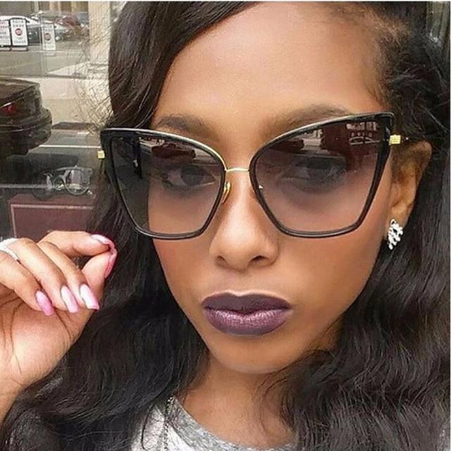 b503cb0fa FEISHINI Proteção UV Óculos Feminino Óculos De Sol Claro Polaroid Estrela  Gato Olho Óculos De Sol