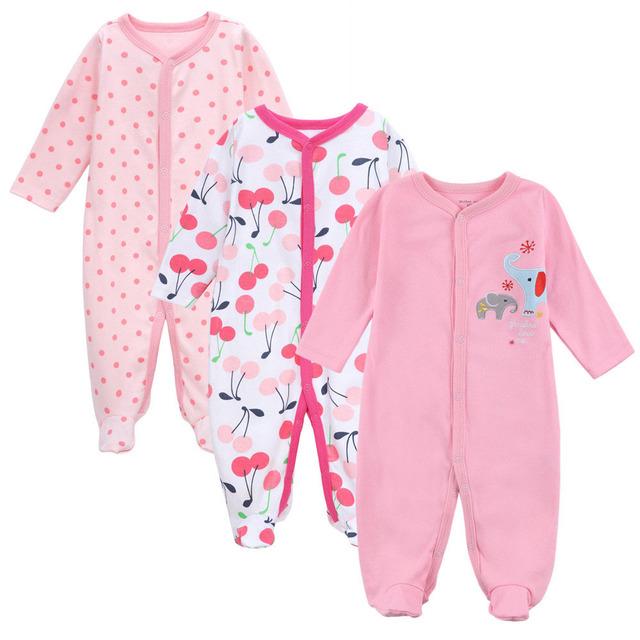 Marca Macacão de Bebê Mangas Compridas 100% Algodão Do Bebê Meninas Pijamas Dos Desenhos Animados Impresso Bebê Recém-nascido Meninos Roupas 3 PCS encaixa 0-12 M
