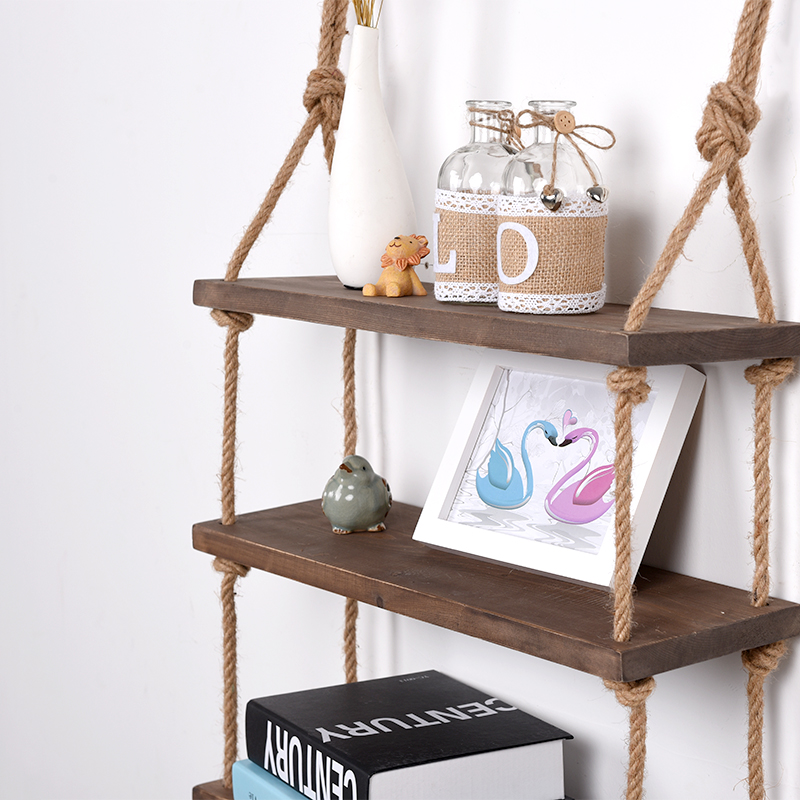 Decorative Wall Hanging Shelf, 3 Tier Distressed Wood Jute Rope Floating Shelves, Rustic Home Wall Decor