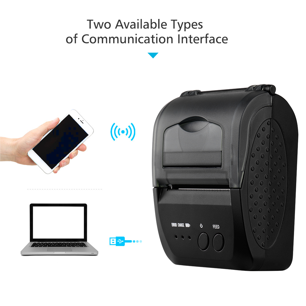 5809DD Portable Mini Direct Thermal Printer Wireless Thermal POS Receipt Printer With 2000mAh Battery USB/BT Mobile Printer