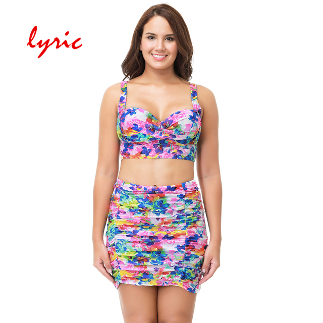 10344dc53f lyric High Wait Pink Floral Skirt Plus Size Bikini Set Black Push Up Halter  Bathing Suit Sexy Swimwear Women s Swimming Suit