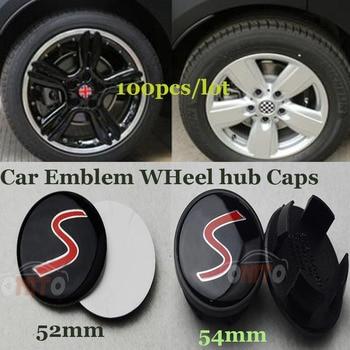 S logo label Auto tires rims Covers fit For Mini 54mm Car Rims Wheel hub Center caps  badge Emblem 52MM stickers 10pcs/lot
