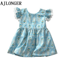 AJLONGER Girls Dress New Spring Summer Lace Childrens Clothing Fashion Dresses Princes Girl