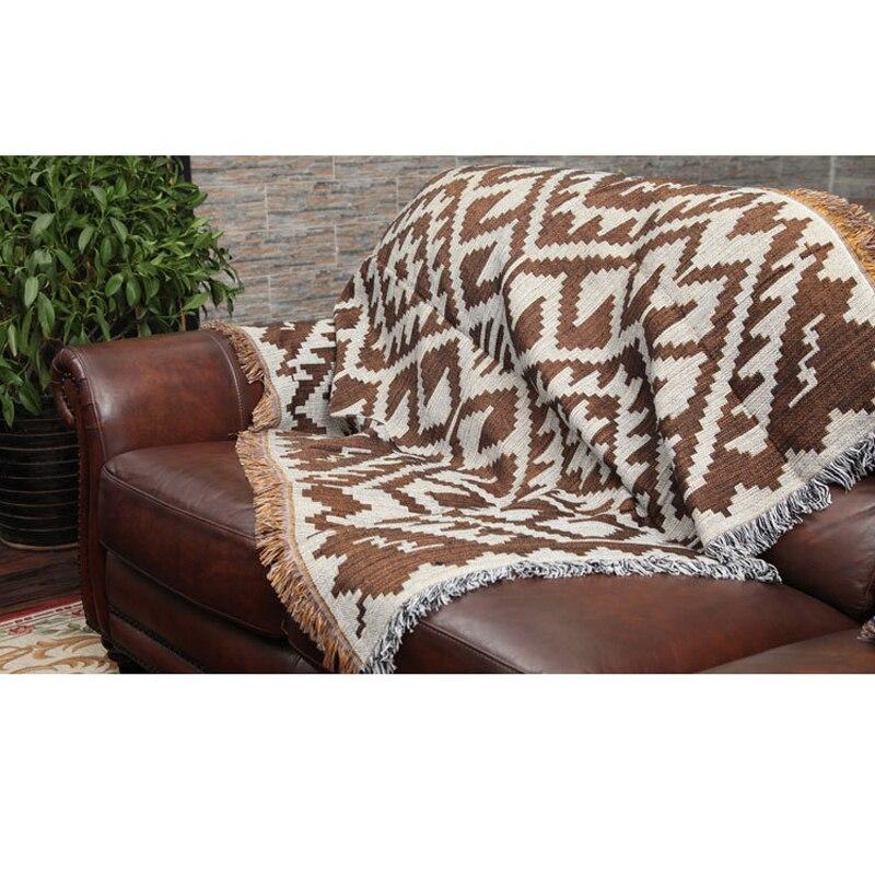 Kilim coton fil couverture tricoté canapé serviette couverture tapis gland tapis doux tapis nappe couvre-lit tapisserie