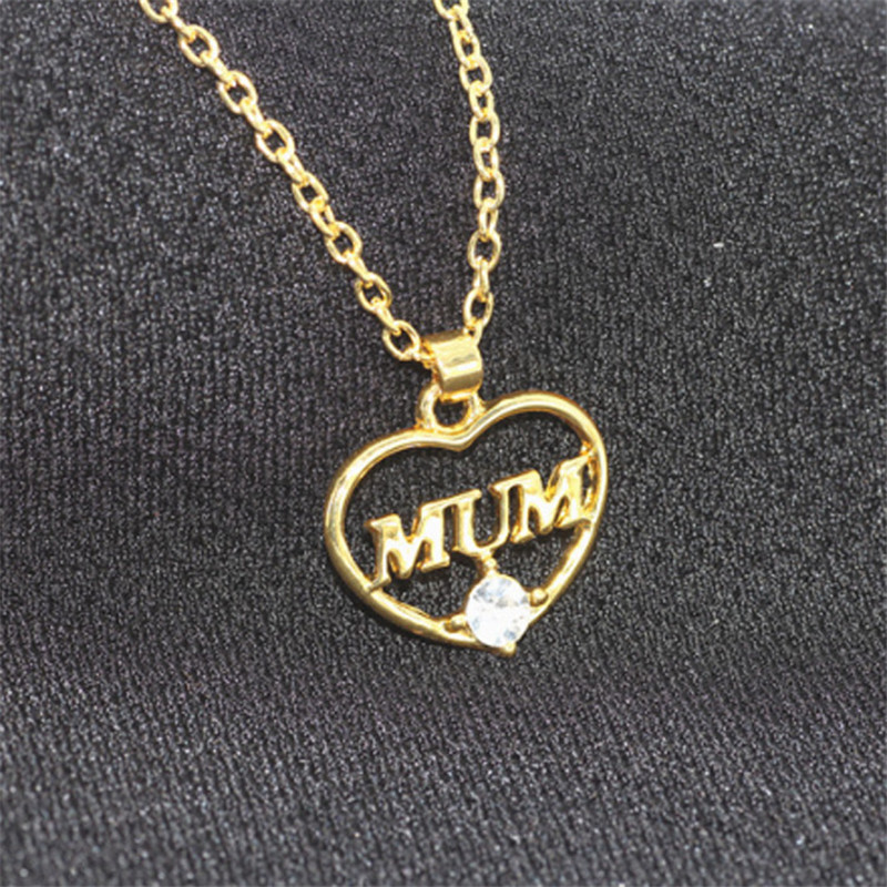 "ZN 2019 Gold Color Love ""Mum"" Crystal Heart Pendant Necklace Mother's Day Gifts for mother Sweater Chain Necklaces Best Gifts 30"