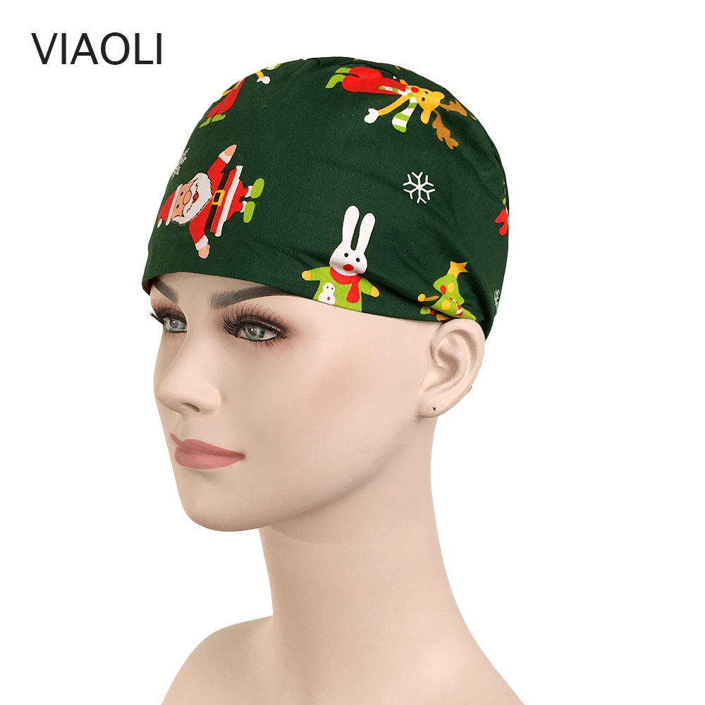 Surgical Scrub Christmas Snowman Hat Printing Surgical Cap Hairdresser Pet Hospital Nurse Cap Cotton Hoist Hat Accessories New