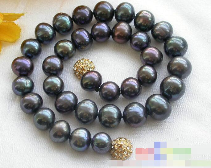 bjc>>ROUND peacock black PEARL NECKLACE Discount 35% #@
