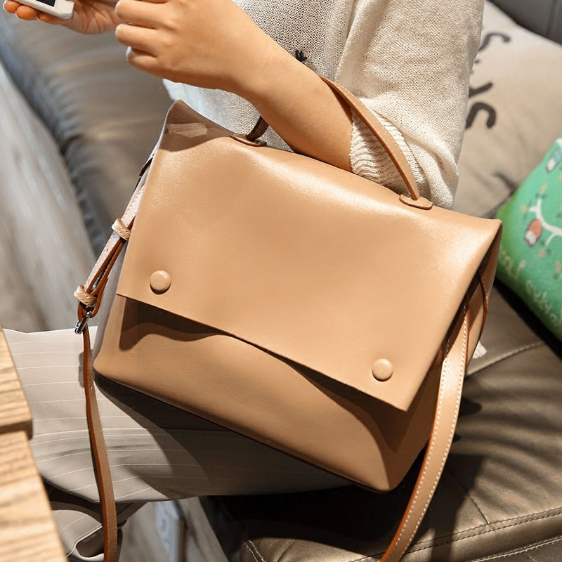 New fashion zipper buckle women leather handbags Korean casual clamshell design personality ladies shoulder bags casual women s satchel with weaving and buckle design
