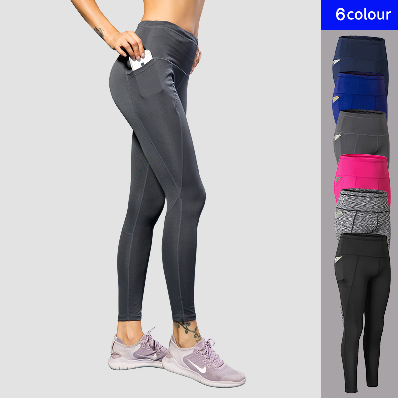 2018 New Sport Tight Trousers Women Pocket Yoga Running Pants High Quality Girls Black Sexy Slim Yoga Leggings Female Long Pants