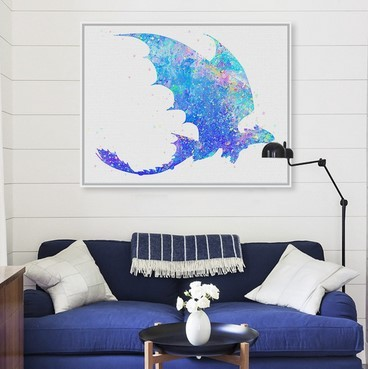 Original Watercolor Train Dragon Movie Poster Prints Abstract Anime Picture Canvas Painting With Frame Kids Room Decor Wall Art