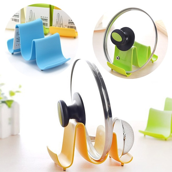 New Wave Style Pan Pot Cover Spoon Rack Stand Holder Kitchen Accessories Utensil Tool Random Color Beauty