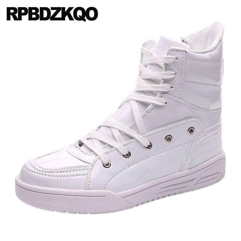 0ad6174b55 Zapatos cremallera de lujo para hombre negro charol botas entrenador botines  Lace Up blanco tobillo impermeable Azul Rojo zapatillas de alta superior en  ...