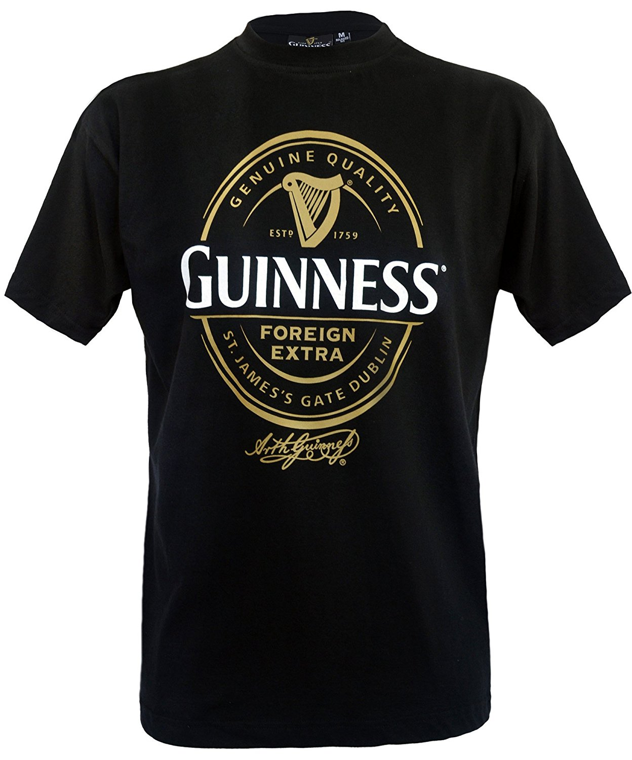 Guinness Official Merchandise Foreign Extra Label Round Neck Printed Mens T-Shirt Sleeves Boy Cotton Men T-Shirt Top Tee