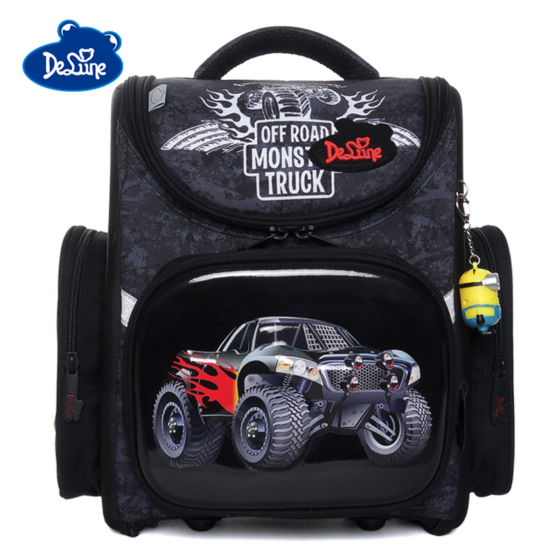 Delune 2019 Car Pattern school bags for boy girls cartoon backpacks children orthopedic backpack flower primary