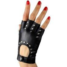 Fashion Black Genuine Leather Half Finger Gloves Pure Sheepskin  Fingerless Hip Hop Rivet Female TB07