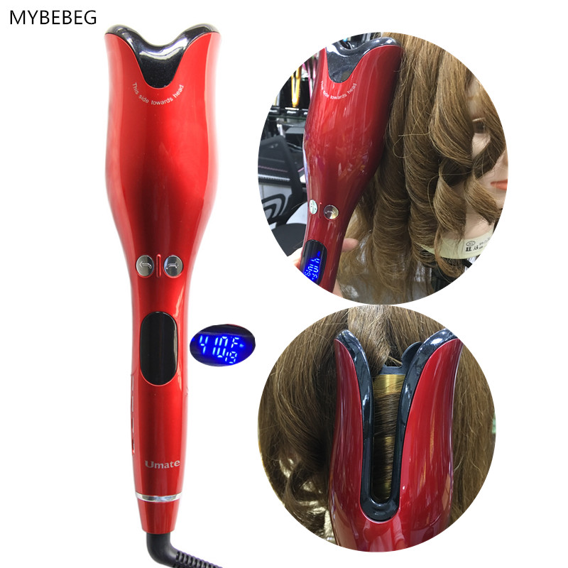 2019 New ceramic automatic curler LCD curling iron Hair curler Quick curls Curling iron Black Red