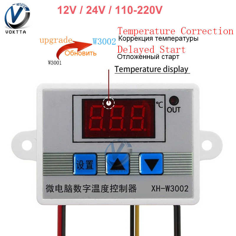 W3002 10A 12V 24V 110V 220V LED Digital Suhu Controller Thermostat Control Switch Thermoscope Sensor Meter dengan Probe