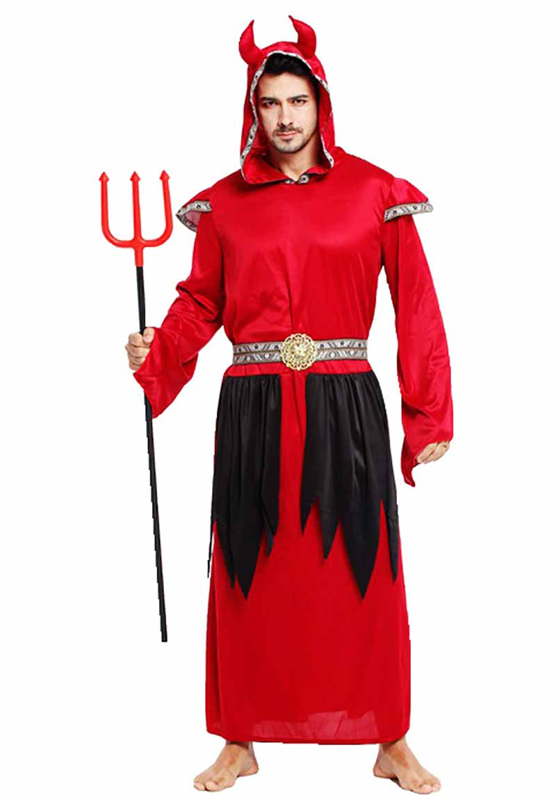 Mens Red Devil Halloween Costume Male Devil Lord Costume Adult Satan Costume Parade Carnival Masquerade Men Fancy Dress Outfit