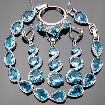 Attractive Sky Blue Stones Jewelry Sets 925 Sterling Silver