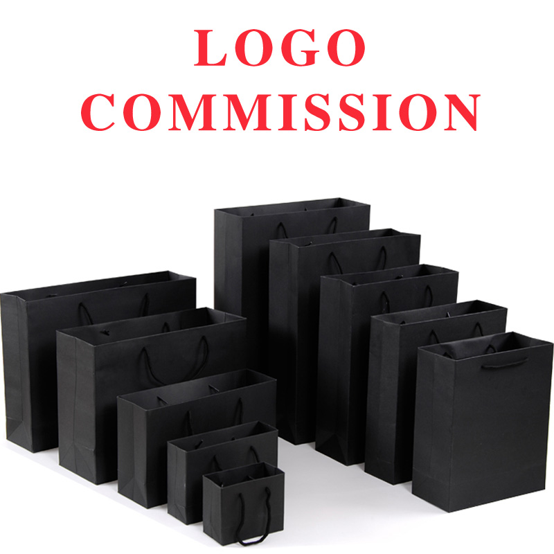 10pcs 19*13*6cm Kraft Paper Bags Custom Gift Packing Ten Sizes Available In Black Customize Logo Welcomed