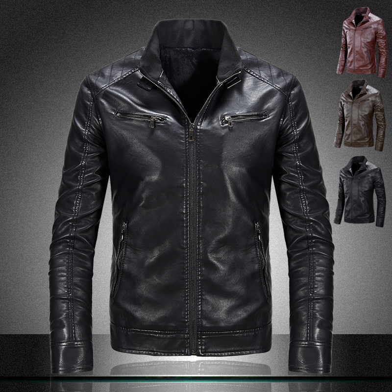 brand motorcycle pu leather jackets mens leather jacket