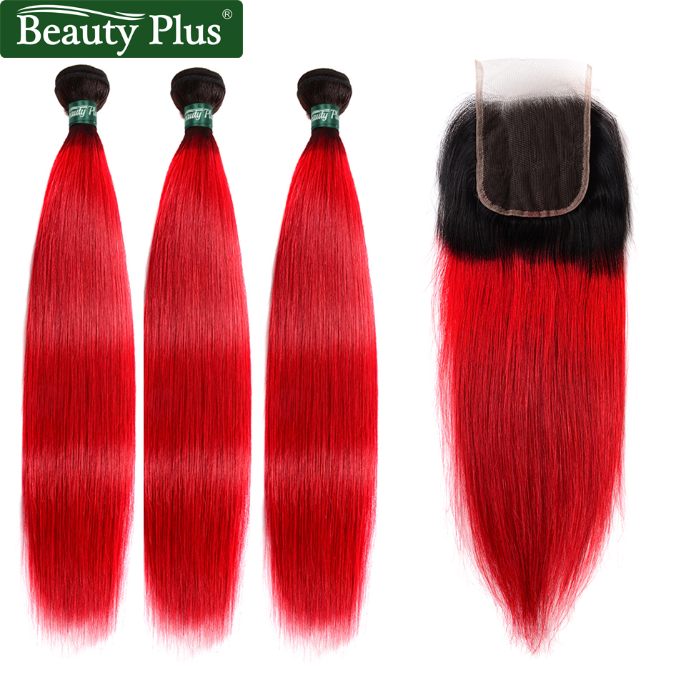 T1b/Red 3 Bundles With Closure Brazilian Straight Weave Beauty Plus Ombre Human Hair Extensions Weft With Lace Closure Non Remy