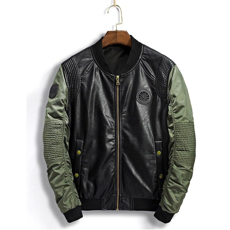 2018 automne nouveau décontracté mode col montant mince manteaux Union Type pilote manteau mâle vestes en cuir synthétique polyuréthane