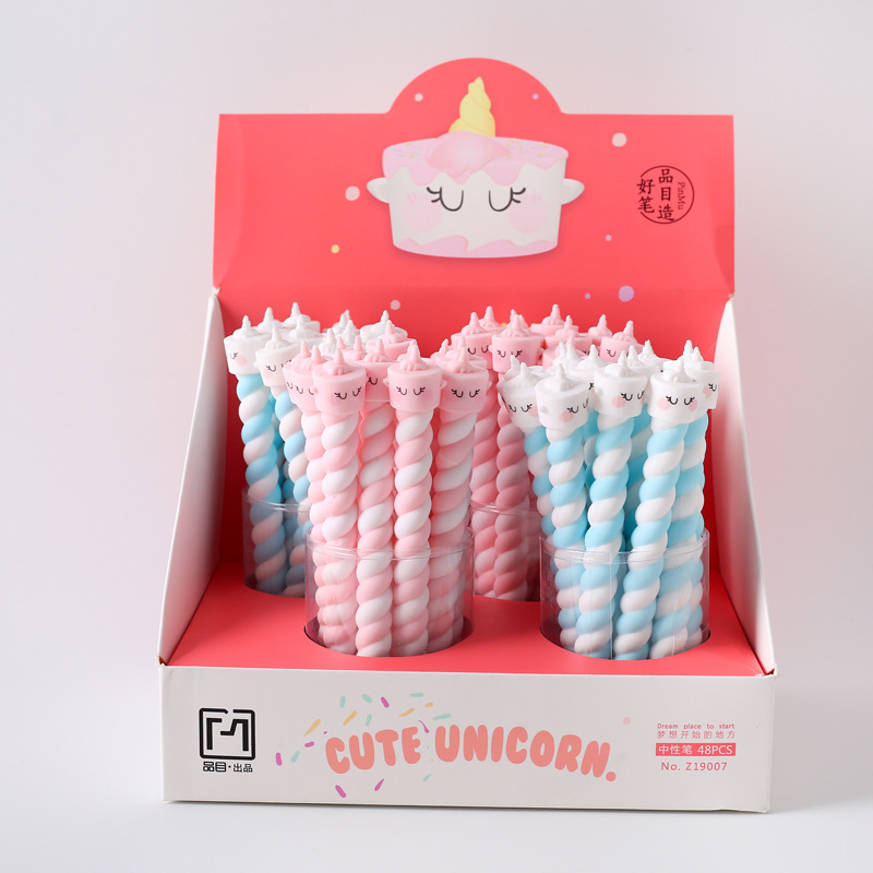 18 Pcs/lot Unicorn Cake Soft Silicone Rubber Gel Ink Pen Promotional Gift Stationery School & Office Supply Birthday Gift