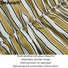 BeAvant Stripe high waist chiffon jumpsuit romper Women off shoulder sexy rompers overalls Summer beach strap mini playsuit 2018