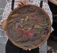 Свадебные украшения Старые китайские деревянные счеты лаков резные дворца Белль вид Обложка для книги складной экран