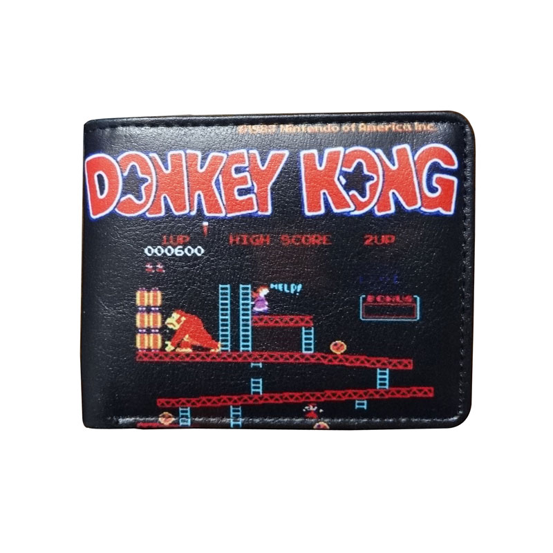 Hot New Anime Leather Wallets Cartoon Donkey Kong Purse carteira Gift Kids Boy Girl Folded Short Wallet hot selling super mario wallets kawaii cartoon anime purse gift for teenager boy girl money bags leather short carteira wallet