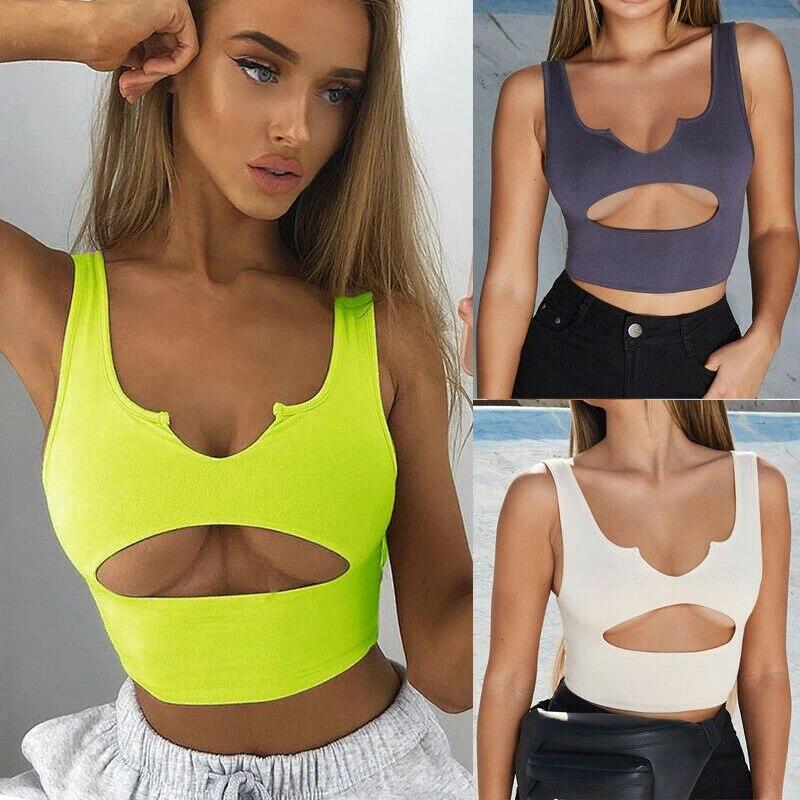 Womens Buckle Vest Boob Tube Crop Sheer Mesh T Shirts Cami Sequins Tank Tops Bra