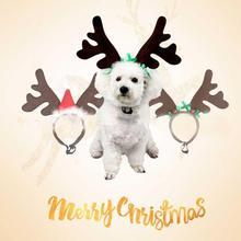 Reindeer Hairpin Teddy Dog Head Flower Pet Tiara Dog Accessories Dog Headdress Christmas Funny
