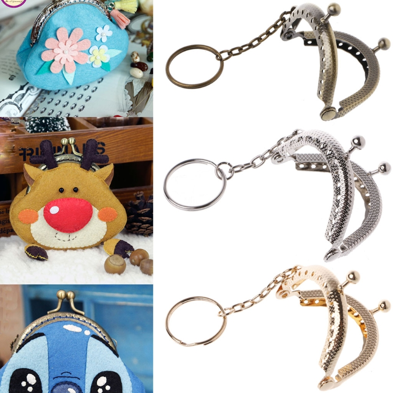 1PC Coin Purse Bag Arch Frame Kiss Clasp Lock With Key Ring DIY Craft 5cm