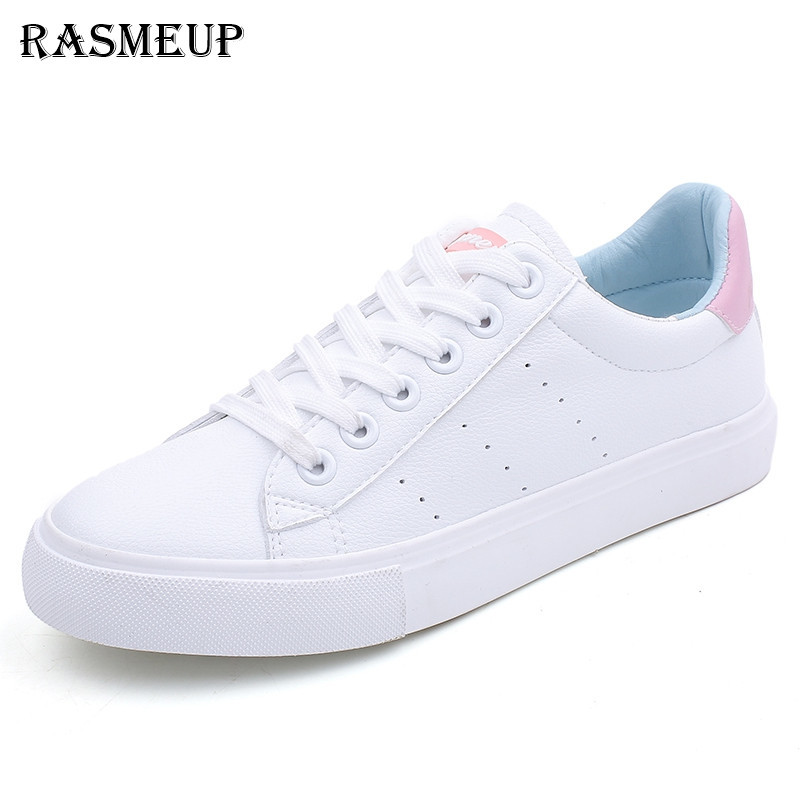 RASMEUP Leather Women's White Sneakers 2018 summer Fashion Women Flats Soft Woman Casual Breathable Lace Up Flat Shoes pinsen fashion women shoes summer breathable lace up casual shoes big size 35 42 light comfort light weight air mesh women flats