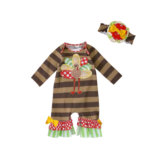 thanksgiving baby rompers 2017 newborn baby girl clothes turkey embroidery infant baby girl romper jumpsuit with