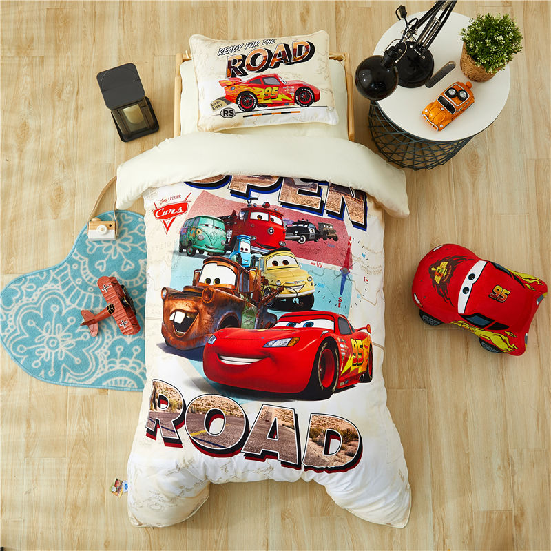 Disney Cartoon Mc Queen Cars Mickey Minnie Bedding Set Baby Crib Bed 3Pcs Duvet Cover Bedsheet  For Baby Boys Girls 0.6m Bed