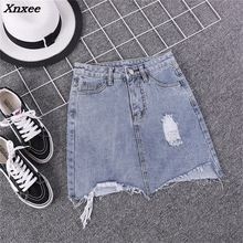Summer Women Pencil Skirt Blue Sexy Casual Mini Denim Skirts 2018 Fashion New Ripped Pockets Bodycon Hole Jeans Skirt Xnxee blue fashion lace details bodycon ripped jeans