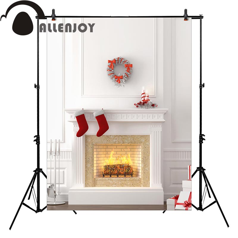 Allenjoy Christmas background for photos white fireplace socks backdrop photo studio customize fantasy props white horse with snow falling pure wedding photos 10 6 5ft digital printed background for photo studio backdrops customize