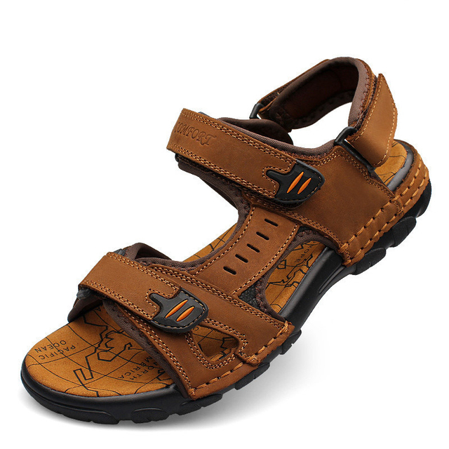 Big Size 45 Men Sandals Genuine Leather Sandals Men Shoes Luxury Brand  Black Beach Sandals for