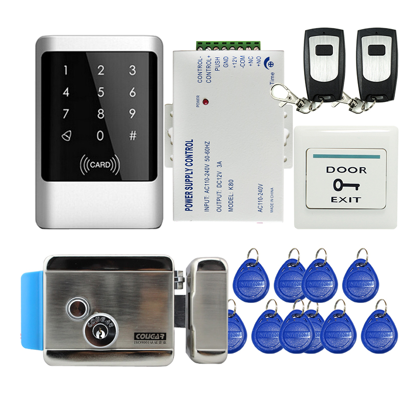 Fress Shipping Touch Panel Waterproof Metal RFID Reader Keypad Entry Access Control System + Electric Lock Power In Stock access control all in one machine reader entry door keypad lock access control system for office family